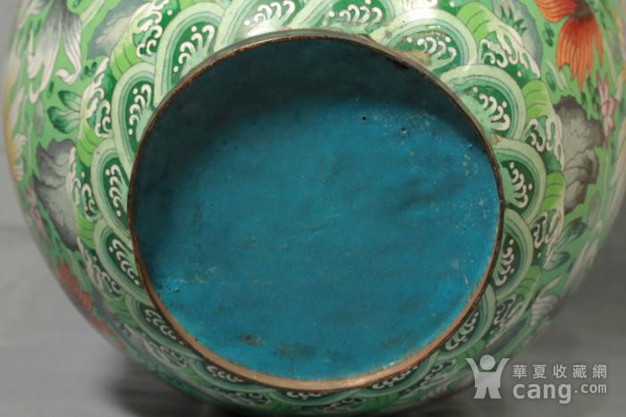 铜胎掐丝金玉满堂纹大画缸 带红木底座图11
