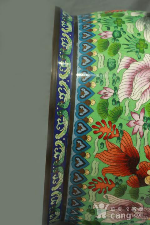 铜胎掐丝金玉满堂纹大画缸 带红木底座图12