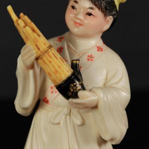 文革精品细路彩雕 吹芦笙的小孩