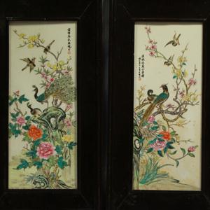 民国粉彩富贵花鸟纹瓷板画