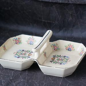 日本传统粉彩手提水果盘