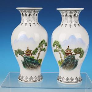 567创汇时期艺术瓷厂手绘粉彩山河景色瓶一对