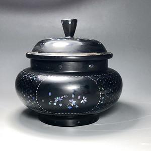 清 黑大漆嵌镙钿茶叶罐一只