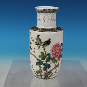 567粉彩花鸟 白头富贵 纹棒槌瓶