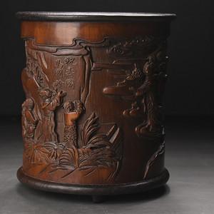 联盟 旧藏竹雕镶红木底口笔筒