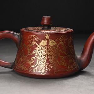 联盟 旧藏紫砂加彩描金壶