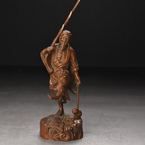 联盟 旧藏小叶黄杨木雕竹节如意人物摆件