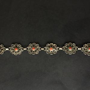 8135欧洲回流老银花丝镶嵌SH手链