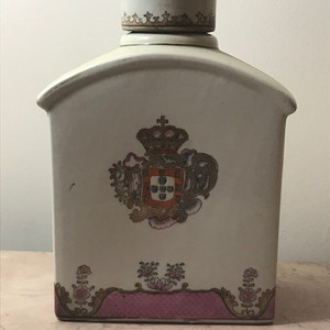 9036 清中出口徽章瓷茶叶罐