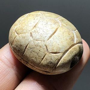 高古 玉龟背 鸡古白 手工雕刻 沁色漂亮 工艺 包浆开门