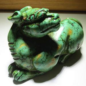 晚清时期 回流 原矿高瓷 绿松石 精工雕刻 辟邪瑞兽 摆件