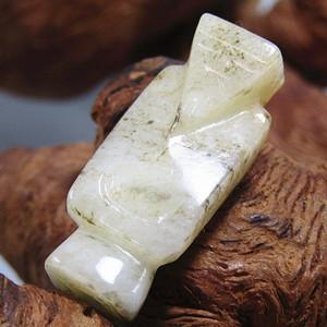 明和田白玉 翁仲 挂件 风化清晰 包浆熟厚