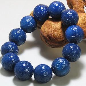 回流 宝石蓝玛瑙 如意头纹饰 圆珠 手串包浆熟厚