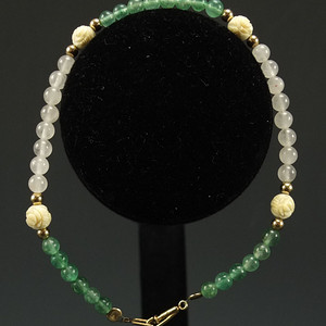 14K金天然玉石镶嵌有机材质手链