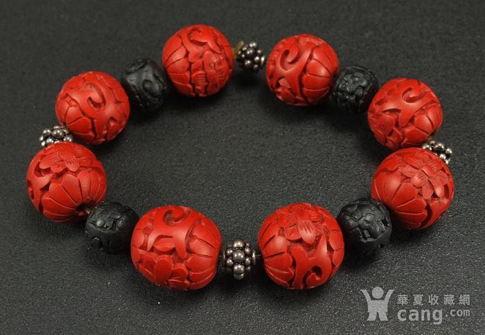 回流剔红《漆雕海棠牡丹》圆珠手链图4