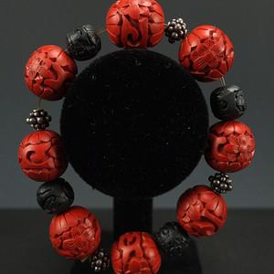 回流剔红《漆雕海棠牡丹》圆珠手链
