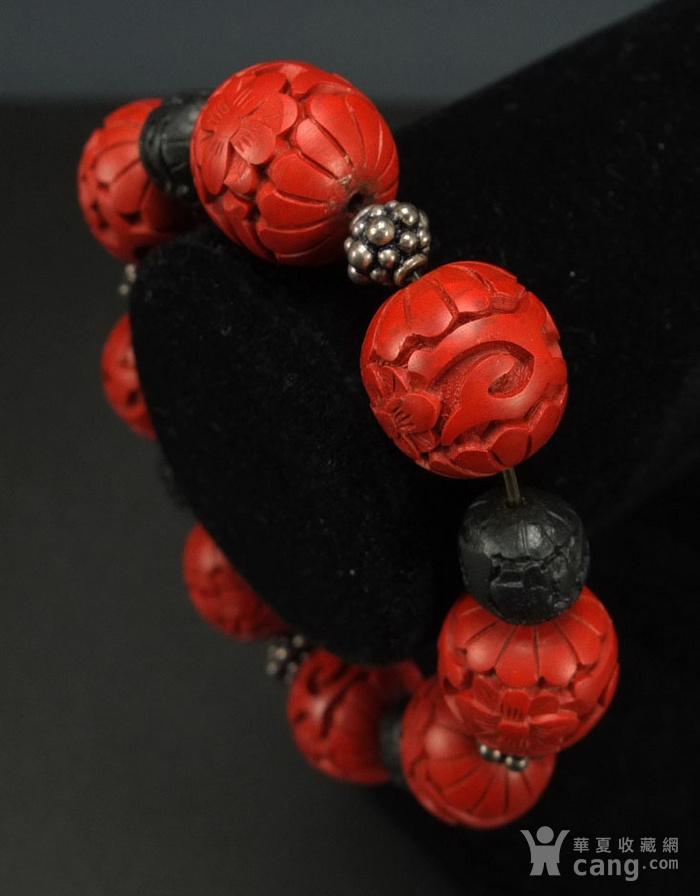 回流剔红《漆雕海棠牡丹》圆珠手链图5