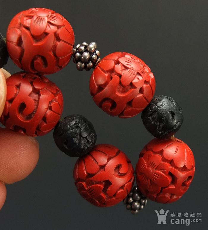 回流剔红《漆雕海棠牡丹》圆珠手链图7