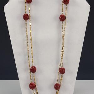 剔红《漆雕海棠牡丹》圆珠项链