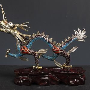 鎏银铜胎掐丝珐琅 火龙摆件
