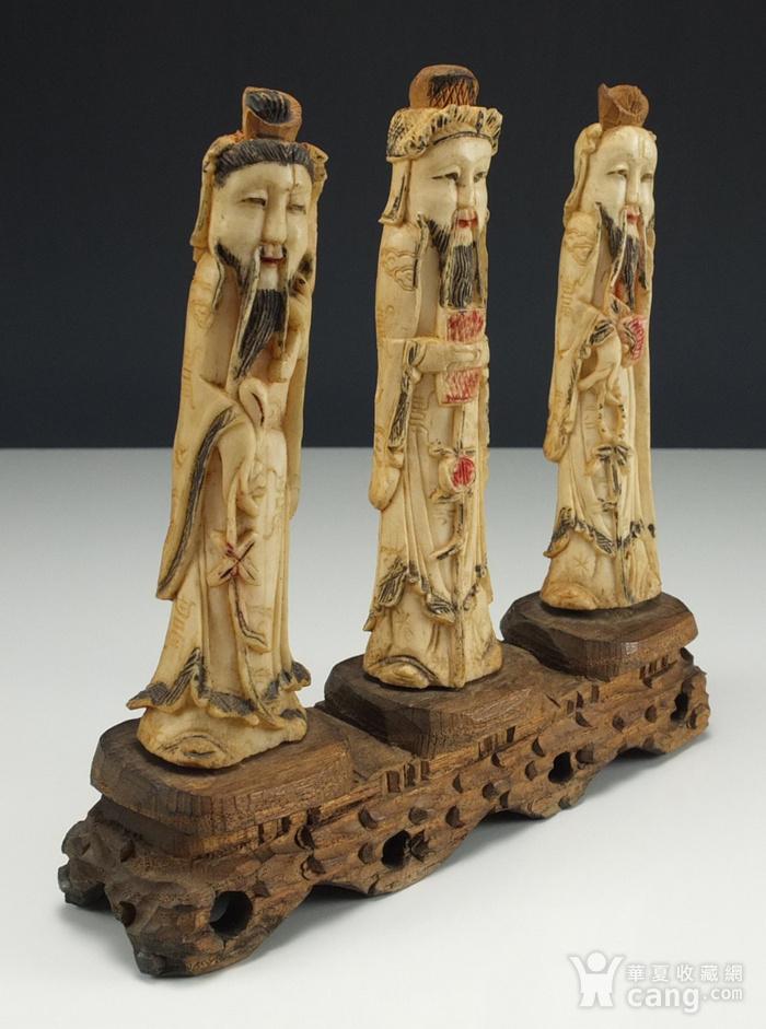 晚清 福禄寿三星 骨质雕塑像 三个 图2
