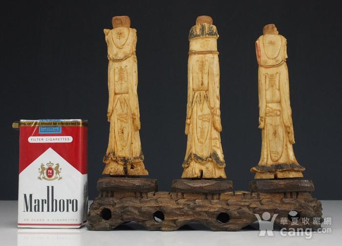 晚清 福禄寿三星 骨质雕塑像 三个 图3