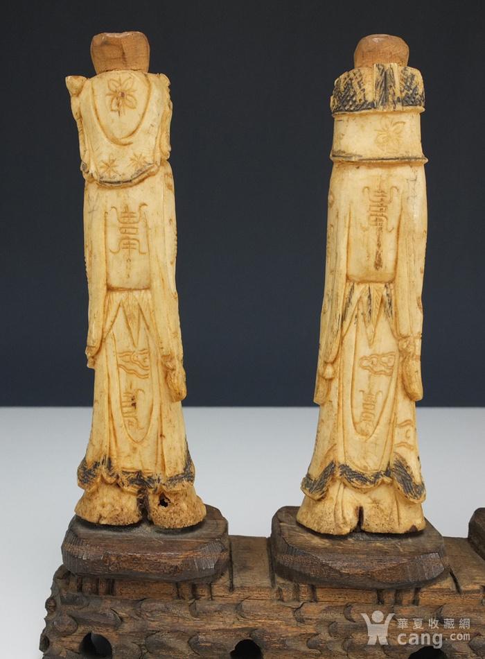 晚清 福禄寿三星 骨质雕塑像 三个 图4