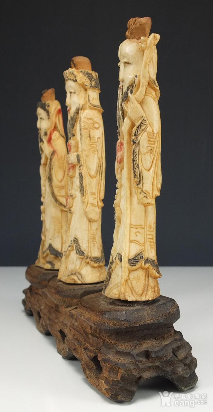 晚清 福禄寿三星 骨质雕塑像 三个 图5