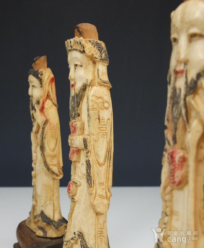 晚清 福禄寿三星 骨质雕塑像 三个 图6
