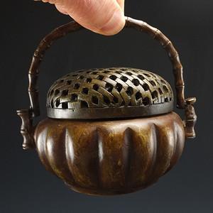 张鸣歧款 镂空雕纹铜暖手炉