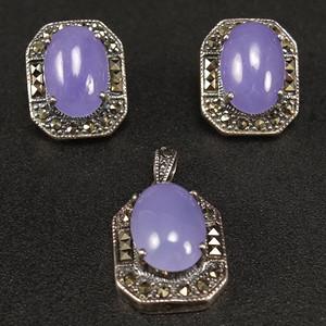 925银天然紫色翡翠 吊坠 耳环