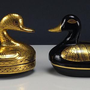 清代描金 漆器 鸭子盒一对