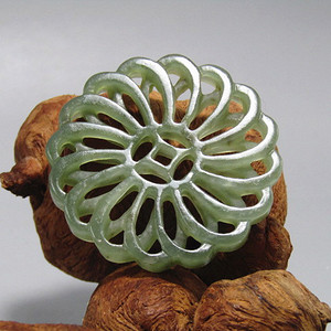 清和田玉 双面 拉丝工 玉币 玉质熟润包浆醇厚