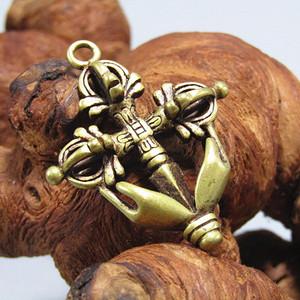 藏传老铜 降魔杵挂件 手工斩刻  工艺细致
