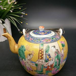 清同治粉彩茶壶