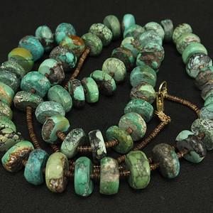 天然原矿绿松石  扁珠项链 收藏级