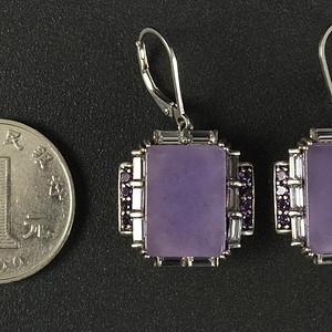 925银镶嵌天然A紫色翡翠 耳环