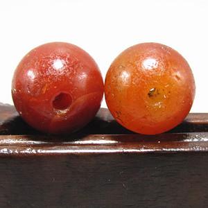 唐红玛瑙珠 包浆熟厚  风化清晰