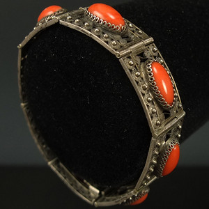 清代925银镶嵌 天然珊瑚手链