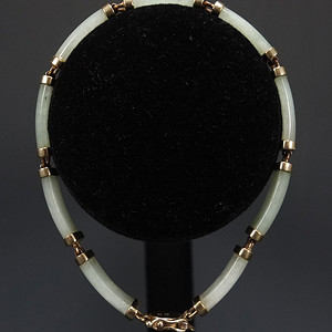国外回流银鎏金镶嵌天然翡翠手链