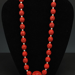 回流 剔红《漆雕海棠牡丹》圆珠项链
