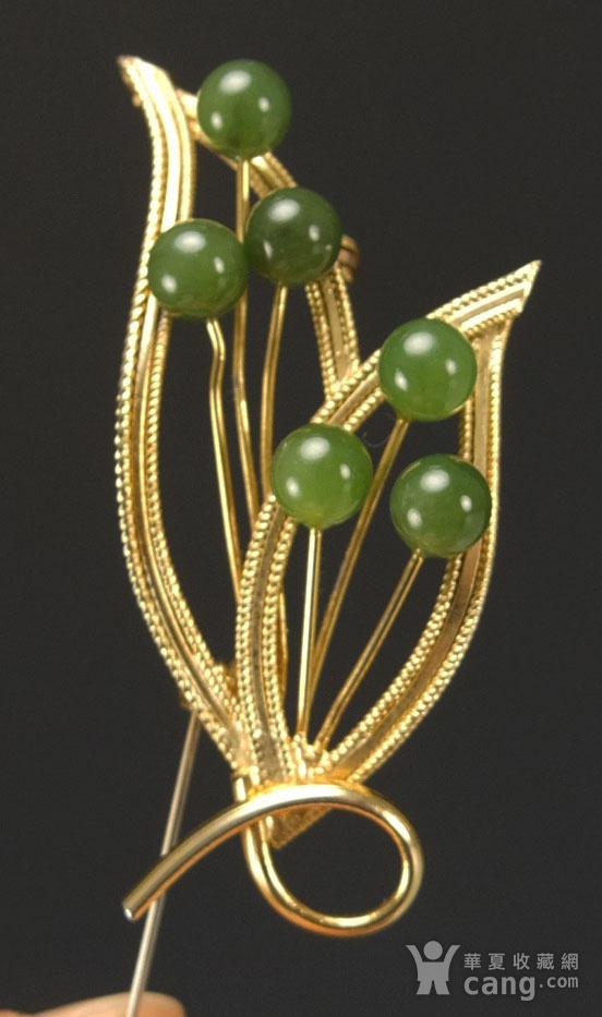 美国回流 银鎏金镶嵌天然碧玉 胸花图2