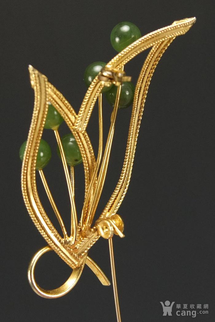 美国回流 银鎏金镶嵌天然碧玉 胸花图6