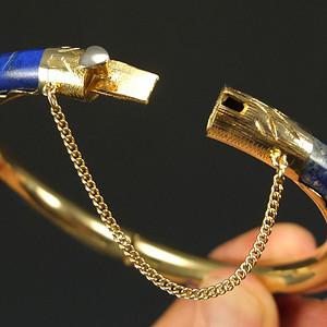 二十世纪创汇时期 银鎏金堑花  青金石  手镯