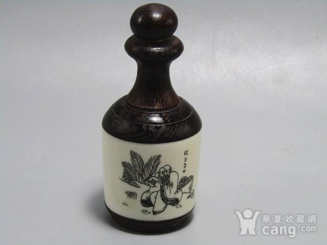 有年份黄花梨镶嵌骨雕 鼻烟壶 工艺非常好图3