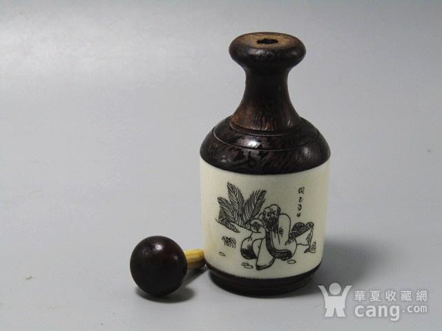 有年份黄花梨镶嵌骨雕 鼻烟壶 工艺非常好图6