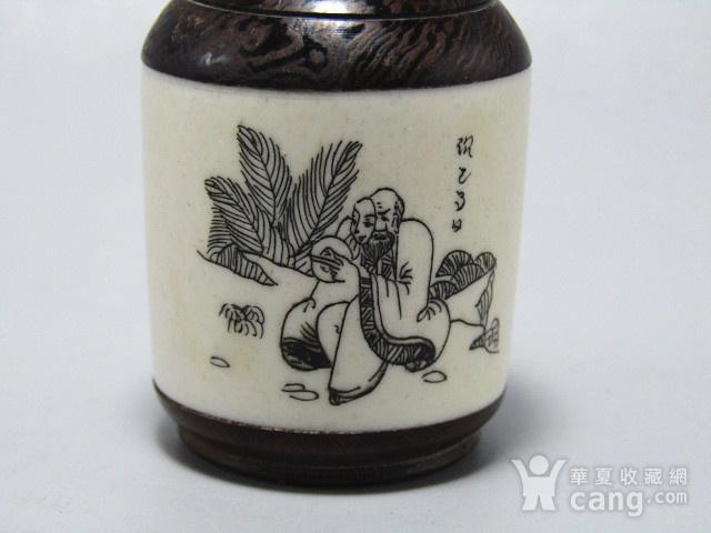 有年份黄花梨镶嵌骨雕 鼻烟壶 工艺非常好图2