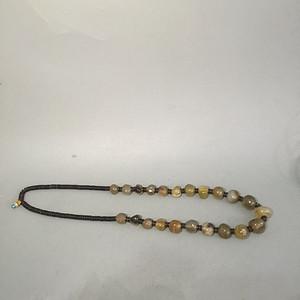 欧洲回流天然老玛瑙珠子项链