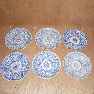六个青花细莲子盘