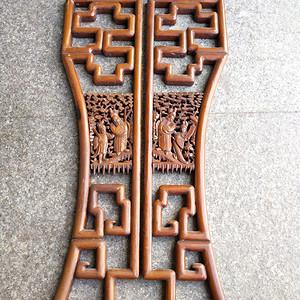非常精美楠木雕刻挂屏一对
